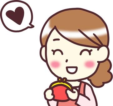 [Female apron] diagonal _ wallet Heart