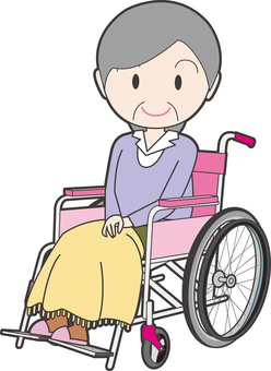 An old lady sitting in a wheelchair
