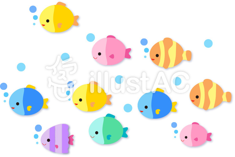 虹色のお魚イラスト No 169084無料イラストならイラストac