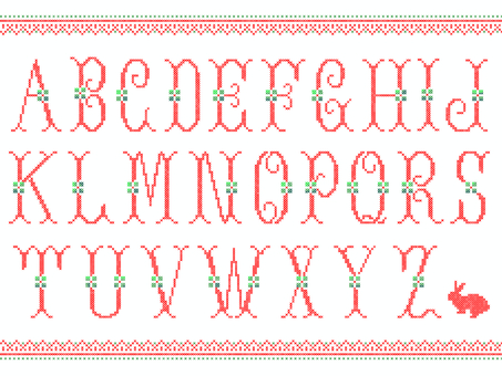 Embroidery alphabet red