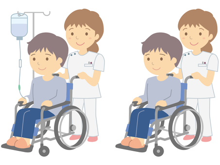Wheelchair patients and medical staff