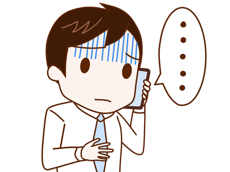 A company employee who talks while being pale on a smartphone 2