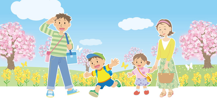 Spring going out Family family illustration