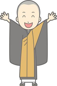 Buddhist priest Youth a - Banzai - whole body