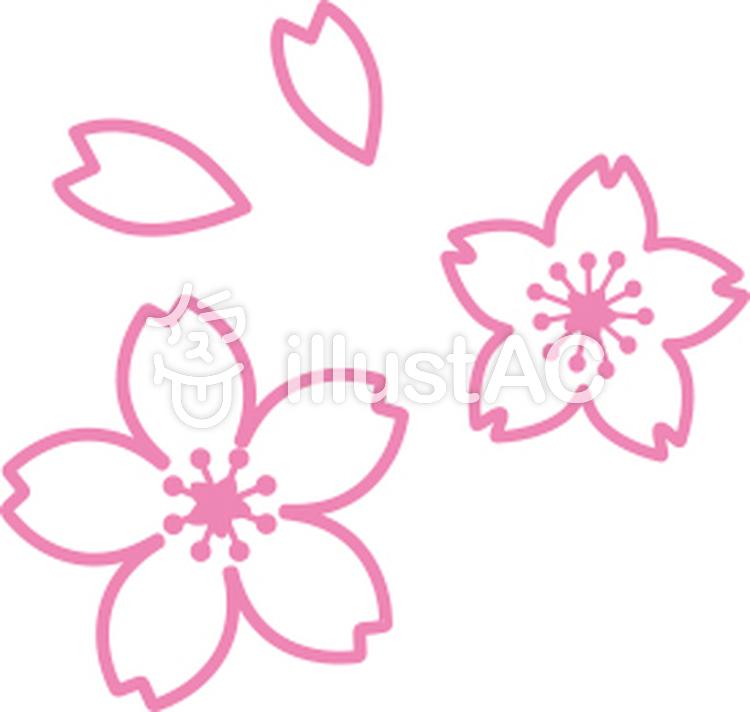 桜の花の線画イラスト No 701740無料イラストならイラストac