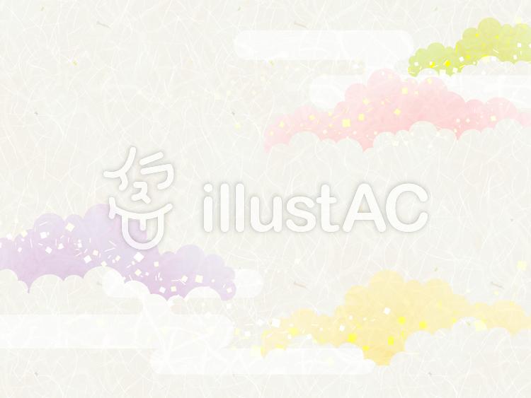 背景(和紙_彩雲_横)のイラスト