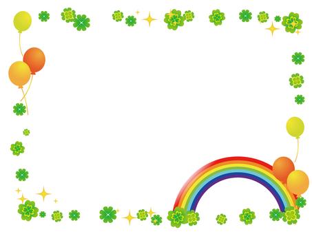 Rainbow and clover decorative frame