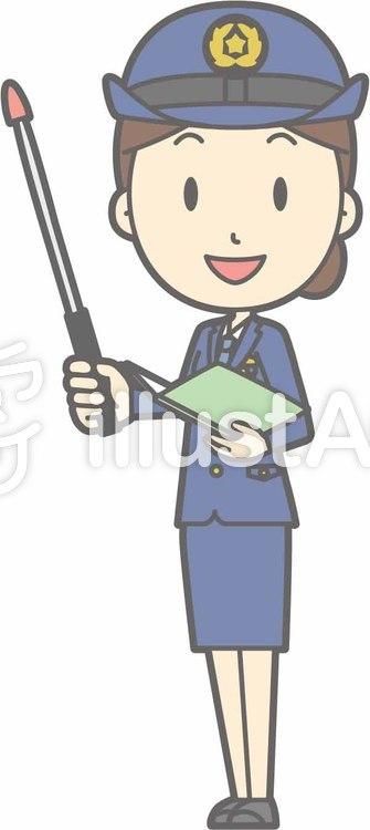 警察官女性a-指示棒1左斜め-全身のイラスト