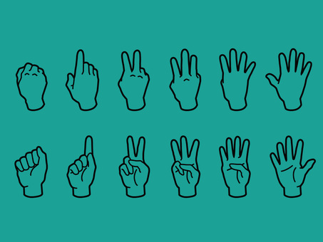 Hand and finger · 1 to 5 · black line