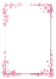 Cherry blossom frame, background, A4 length, with paint