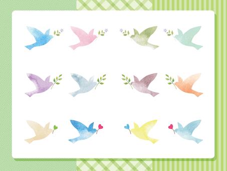 幸せの鳥-グリーン