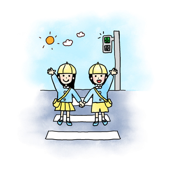 Children crossing a pedestrian crossing (watercolor)