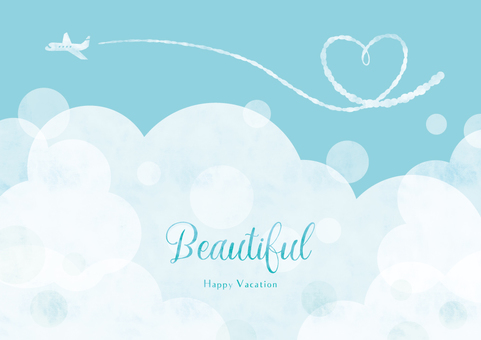 Summer background frame 016 sky clouds heart