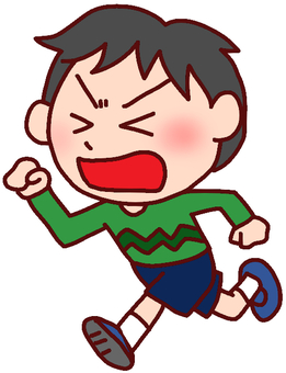 Illustration of a boy escaping