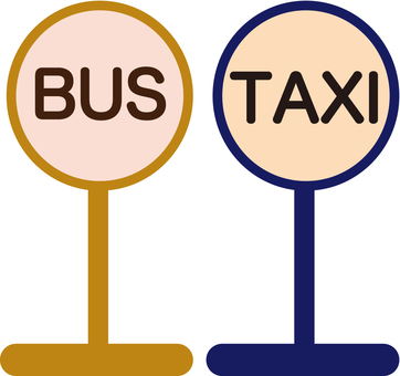 Bus stop and taxi stand