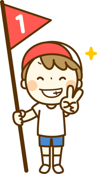 A boy with the flag of first prize