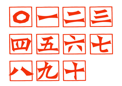 Chinese numeral set 〇 to ten | Free material