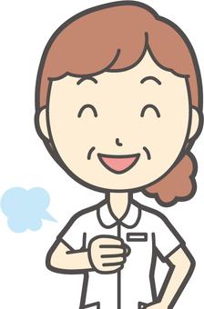 Middle-aged female nurse white coat-175-Bust