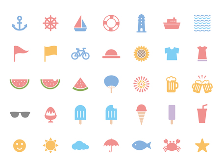 Summer icon set (color)