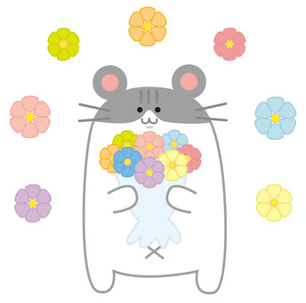 Hamster with a bouquet