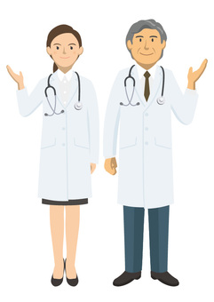 Male and female pair of white coat -2_05_ whole body