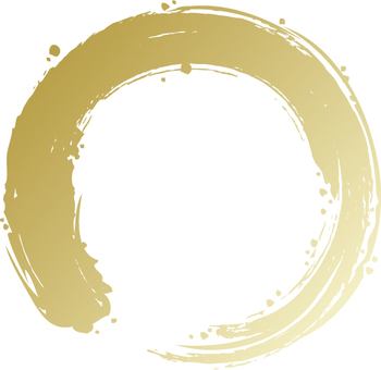A circle written with a brush (gold)