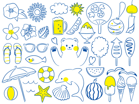 Summer postcard set ~ blue and yellow ~