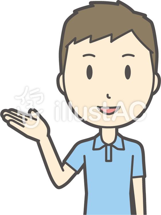 青ポロシャツ男性-144-バストのイラスト