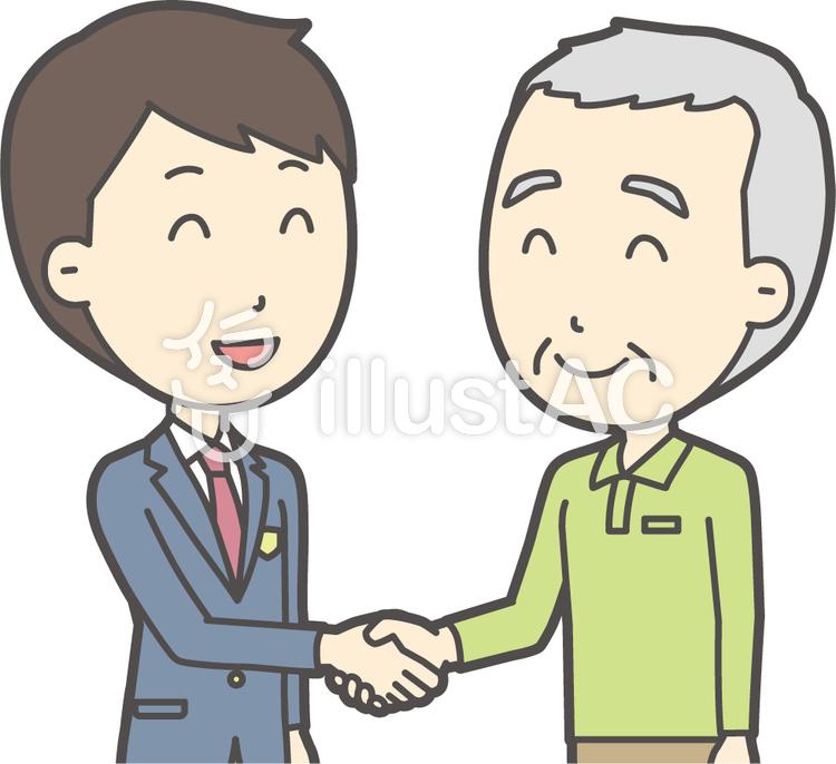 老人男性握手-015-バストのイラスト