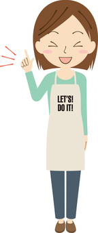 Female apron pointing finger 4