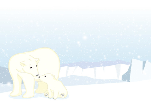 Polar bear parent and child