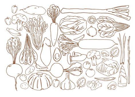 Vegetable assortment set (brown)