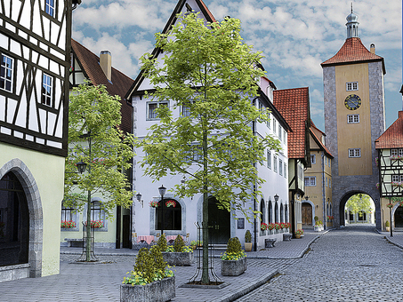 Scenery of painting style medieval building style city