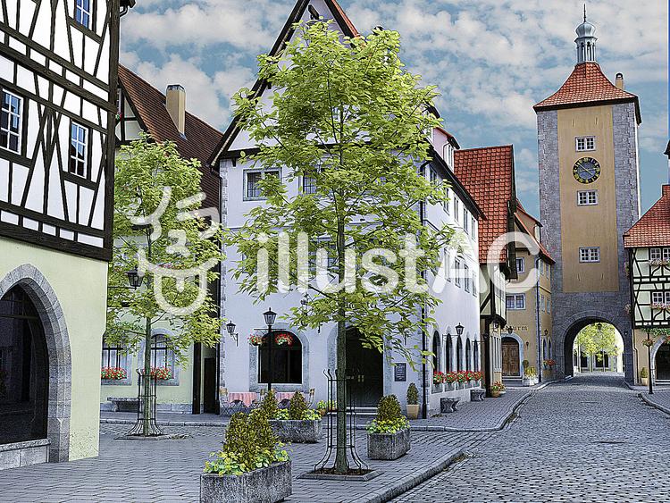 絵画風中世建築風の街の風景のイラスト