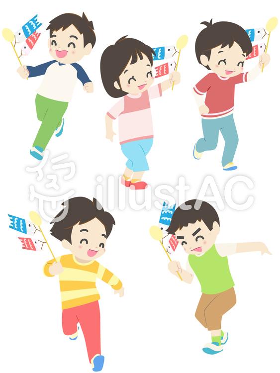 人物 - こどもの日の子供達のイラスト