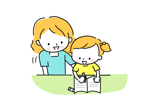 Mother and girl studying for summer vacation