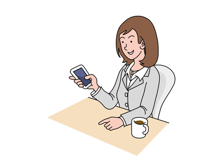 Female employees with a smartphone