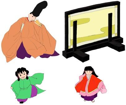 Heian period set, screen, men, children handwriting