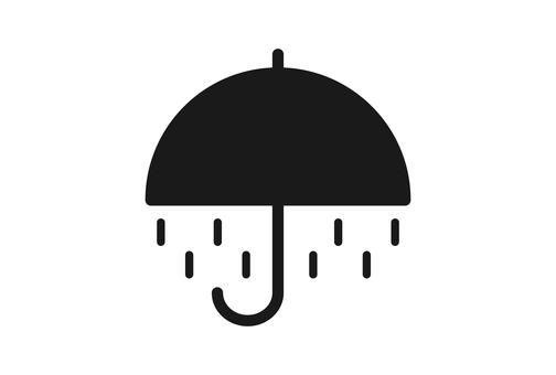 雨マークの黒色天気アイコン