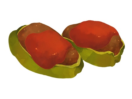 Illustration of stuffed peppers with meat