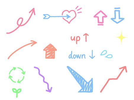 Transparent pop colorful arrow set with white border
