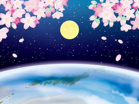 Four season images of the earth (1) Cherry blossoms of the moon and spring