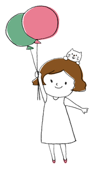 Fluffy with balloons