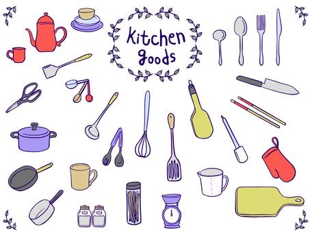 Kitchen goods, hand drawn, illustration