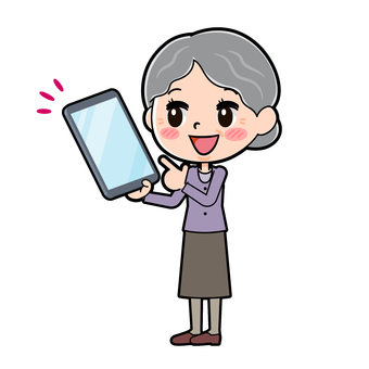 Senior women purple tablet points