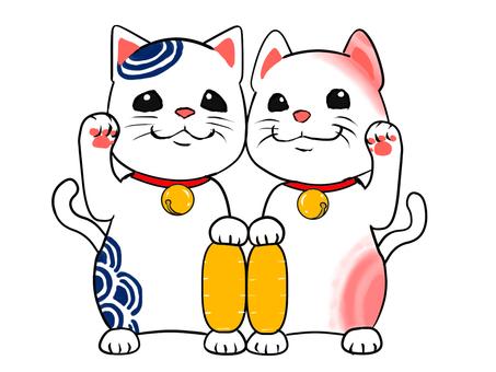 Couple beckoning cat