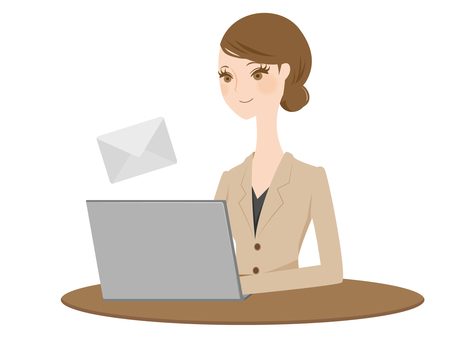 A woman in a suit to send an email