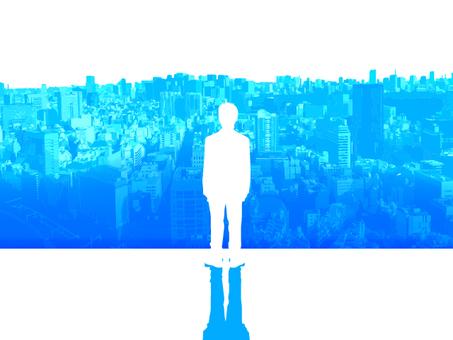 Digital network and businessman rear