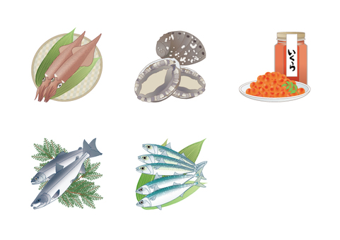 Display Recommended Raw Materials 20 Items - Seafood