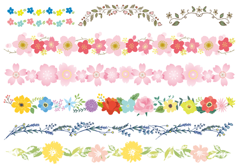 Various lines of flowers such as cherry blossoms